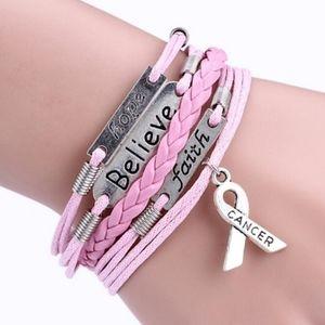 💥Multi-Layer Rope Pink Ribbon Awareness Bracelet